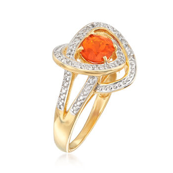 Fire Opal and .10 ct. t.w. White Zircon Ring in 18kt Gold Over Sterling, , default