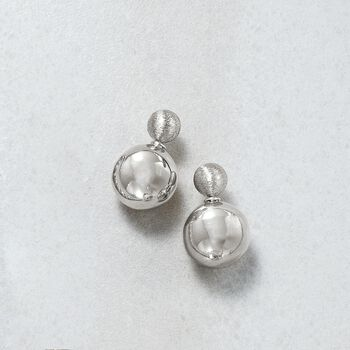 Italian 8-16mm Sterling Silver Brushed and Polished Bead Front-Back Earrings, , default