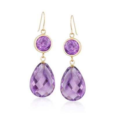 19.00 ct. t.w. Amethyst Drop Earrings in 14kt Yellow Gold, , default