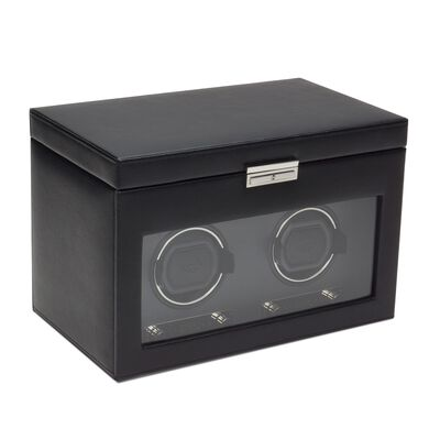 """Viceroy"" Black Faux Leather Double Watch Winder with Storage by Wolf Designs, , default"