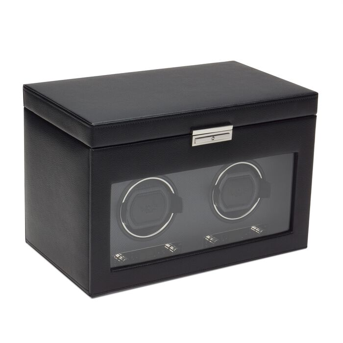 """Viceroy"" Black Faux Leather Double Watch Winder with Storage by Wolf Designs"