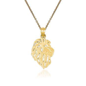 """14kt Yellow Gold Lion Head Pendant Necklace. 18"""", , default"""