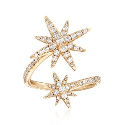 .80 ct. t.w. Diamond Starburst Bypass Ring in 14kt Yellow Gold, , default