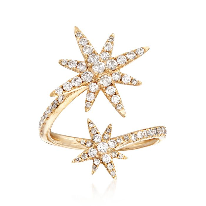 .80 ct. t.w. Diamond Starburst Bypass Ring in 14kt Yellow Gold. Size 7, , default