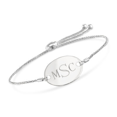 14kt White Gold Personalized Oval Bolo Bracelet, , default