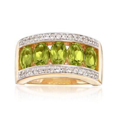 2.40 ct. t.w. Peridot and .40 ct. t.w. White Zircon Ring in 18kt Gold Over Sterling, , default