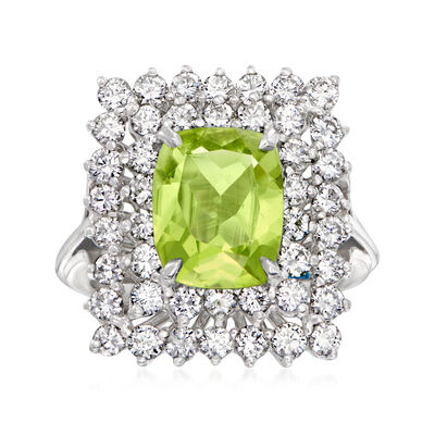 C. 1970 Vintage 2.35 Carat Peridot and 1.35 ct. t.w. Diamond Rectangular Ring in 14kt White Gold