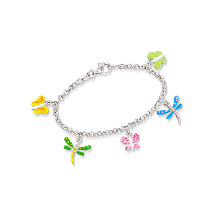 "Child's Enamel Butterfly and Dragonfly Charm Bracelet in Sterling Silver. 6"", , default"