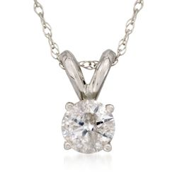 ".33 Carat Diamond Solitaire Necklace in 14kt White Gold. 18"", , default"