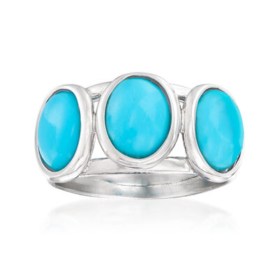 Italian Stabilized Turquoise Ring in Sterling Silver, , default