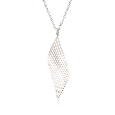 Italian Sterling Silver Leaf Pendant Necklace, , default