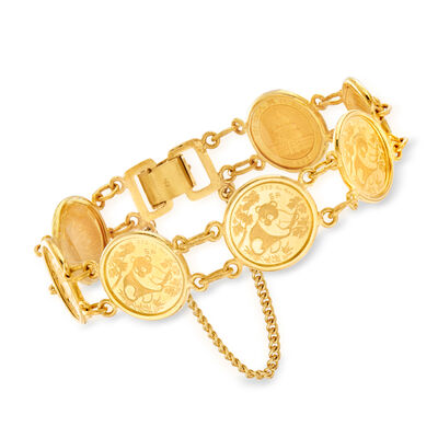C. 1990 Vintage 22kt Yellow Gold Chinese Coin Bracelet, , default