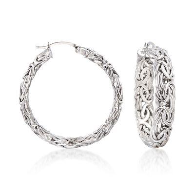 Sterling Silver Medium Byzantine Hoop Earrings, , default