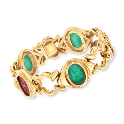 C. 1980 Vintage Legnazzi 16x12mm Red and Green Murano Glass Intaglio Bracelet in 18kt Yellow Gold, , default