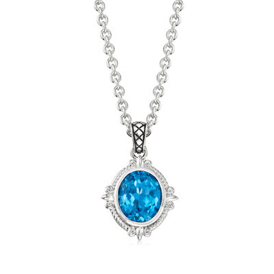"Andrea Candela ""Fleur De Lis"" 5.91 Carat Swiss Blue Topaz Pendant Necklace in Sterling Silver, , default"