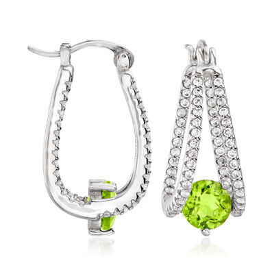 1.80 ct. t.w. Peridot and .80 ct. t.w. White Topaz Double-Hoop Earrings in Sterling Silver