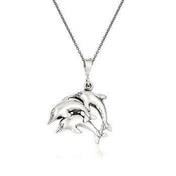 "14kt White Gold Dolphin Pendant Necklace. 18"", , default"