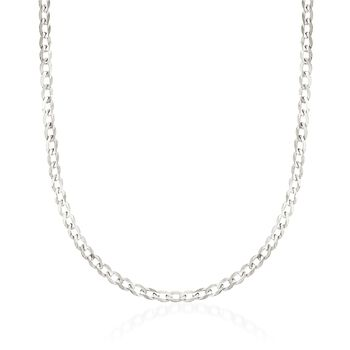 """3.7mm 14kt White Gold Curb Chain Necklace. 18"""", , default"""