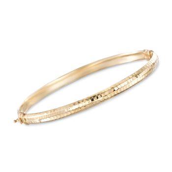 14kt Yellow Gold Faceted Bangle Bracelet, , default