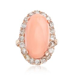 C. 1950 Vintage Pink Coral and 1.75 ct. t.w. Diamond Ring in 14kt Rose Gold. Size 7.75, , default
