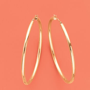 "2.5mm 14kt Yellow Gold Hoop Earrings. 2"", , default"