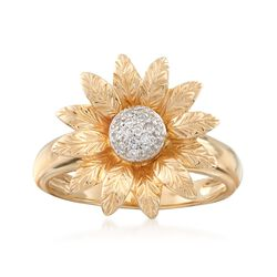 14kt Yellow Gold and Diamond-Accented Flower Ring, , default