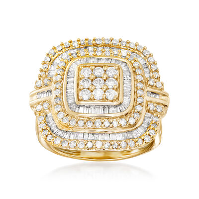 1.50 ct. t.w. Baguette and Round Diamond Ring in 18kt Gold Over Sterling, , default
