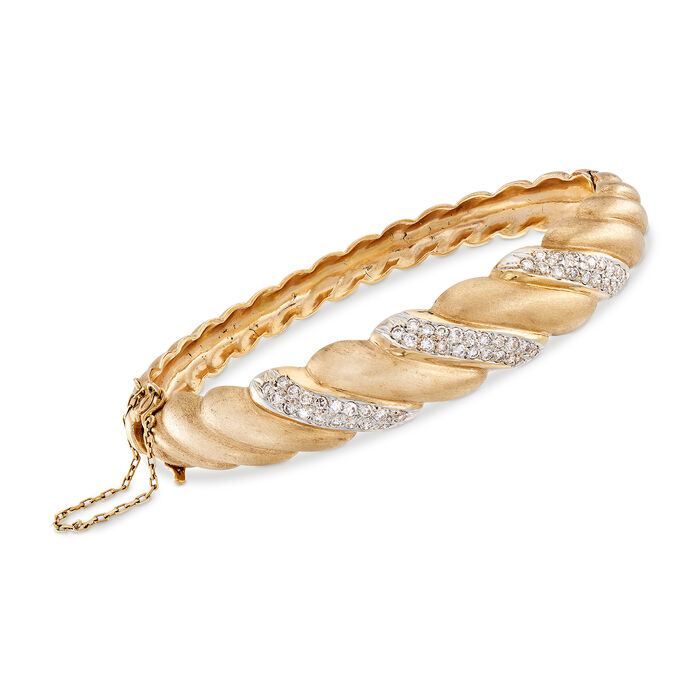 "C. 1980 Vintage Diamond Twist Bangle in 14kt Yellow Gold. 7"", , default"