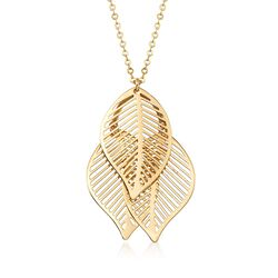 Italian 14kt Yellow Gold Triple-Leaf Necklace, , default
