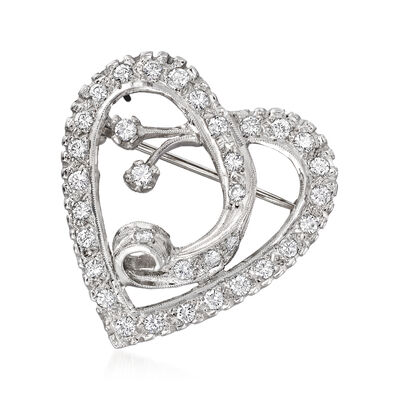 C. 1960 Vintage 1.05 ct. t.w. Diamond Heart Pin in Platinum, , default