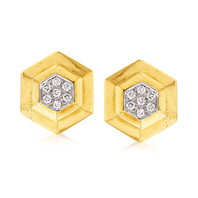 C. 1970 Vintage .85 ct. t.w. Diamond Hexagon Clip-On Earrings in 18kt Yellow Gold