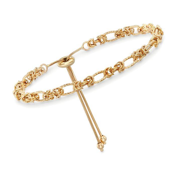 14kt Yellow Gold Byzantine Station Bolo Bracelet