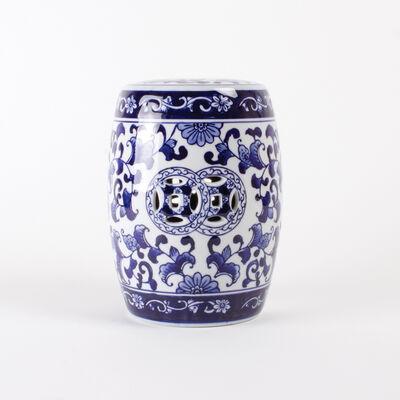 Blue Chinoiserie Porcelain Mini Garden Stool, , default