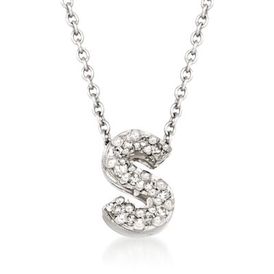 "Roberto Coin ""Love Letter"" Diamond Accent Initial ""S"" Necklace in 18kt White Gold, , default"