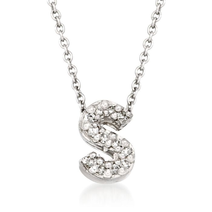 "Roberto Coin ""Love Letter"" Diamond Accent Initial ""S"" Necklace in 18kt White Gold"