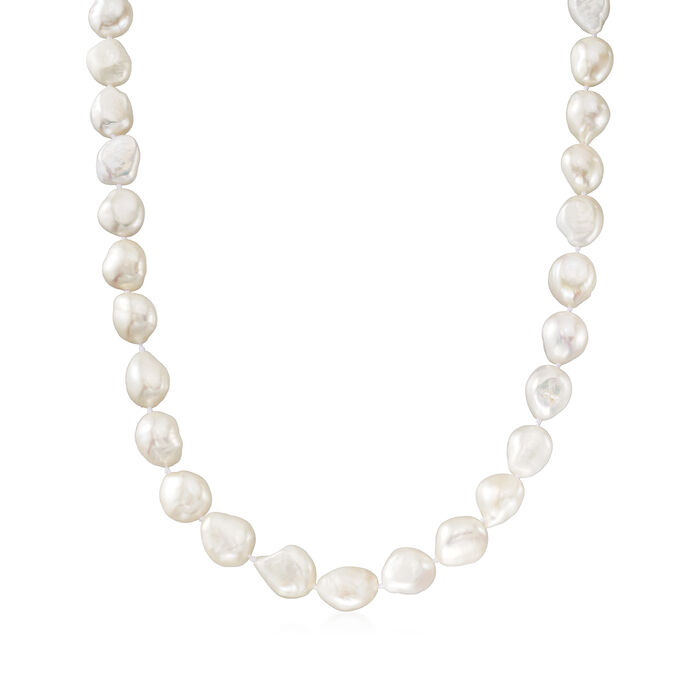 10-11mm Cultured Semi-Baroque Pearl Necklace in Sterling Silver