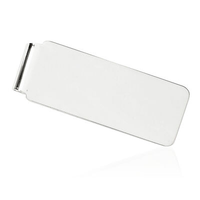 14kt White Gold Engravable Money Clip, , default