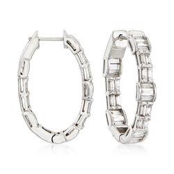 2.00 ct. t.w. Baguette Diamond Hoop Earrings in 18kt White Gold, , default