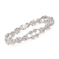 "C. 1990 Vintage 1.50 ct. t.w. Diamond Floral Bracelet in 18kt White Gold. 6.75"", , default"