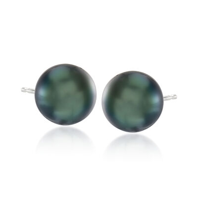 10-11mm Black Cultured Tahitian Pearl Earrings in 14kt White Gold, , default