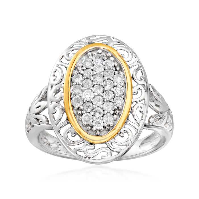 .50 ct. t.w. Diamond Cluster Open-Space Ring in Sterling Silver and 14kt Yellow Gold