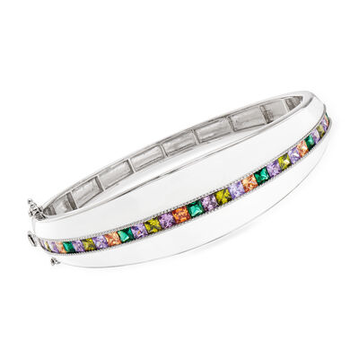 4.50 ct. t.w. Multicolored CZ and White Enamel Bangle Bracelet in Sterling Silver, , default