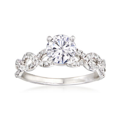 1.22 Carat Certified Diamond Twist Engagement Ring in 14kt White Gold