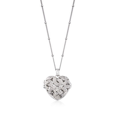 Sterling Silver Heart Locket Pendant Necklace with Diamond Accents, , default