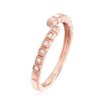 14kt Rose Gold Bypass Ring with Diamond Accents, , default