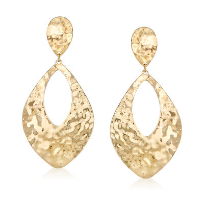 Italian 14kt Yellow Gold Hammered Drop Earrings, , default