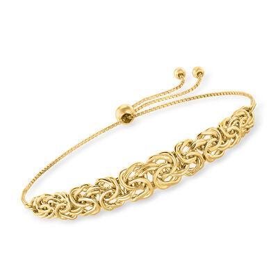 18kt Gold Over Sterling Byzantine Bolo Bracelet