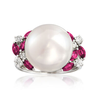 13-13.5mm Cultured Pearl, .70 ct. t.w. Ruby and .23 ct. t.w. Diamond Ring in 14kt White Gold, , default