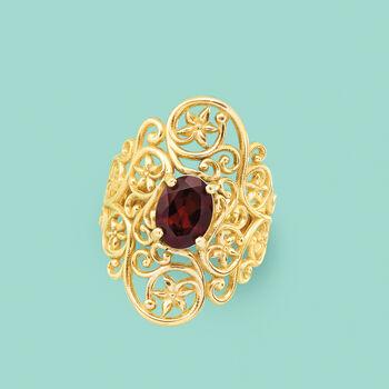 1.40 Carat Garnet Floral Vine Ring in 14kt Yellow Gold, , default