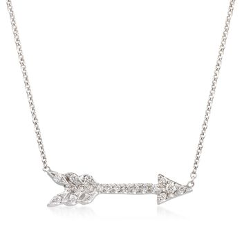 "Roberto Coin 18kt White Gold Arrow Pendant Necklace With Diamond Accents. 16"", , default"